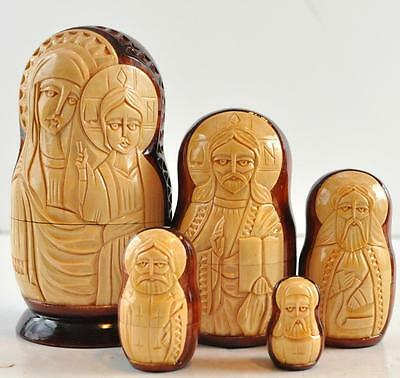 """5 PIECE Russian NESTING DOLL 6.25"""" Hand Painted HAND CARVED"""