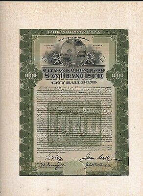 $1000.00 San Francisco City and County City Hall Bond James Rolph Autograph 1912