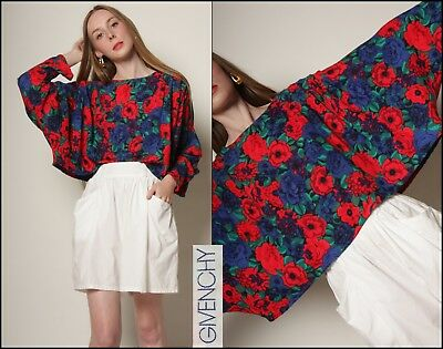 vtg 80s floral ROSES avant garde GIVENCHY draped pleat batwing crop cape top OS