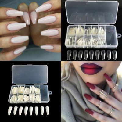 600pcs Long Ballerina Coffin Shape Full Cover False Fake Nails Art Tips Vintage