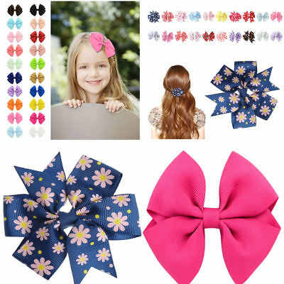 10/20Pc Girl Baby Kids Hairpin Bow Boutique Hair Clip Alligator Grosgrain Ribbon