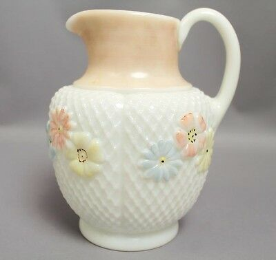 Antique c1900 Consolidated Glass Cosmos Daisy Floral Hand Painted Pitcher