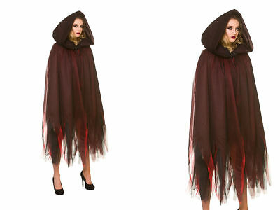 Deluxe Layered Hooded Cape Red Ladies Halloween Fancy Dress Accessory