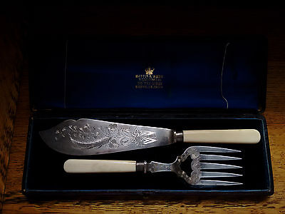 Vintage Mappin & Webb Silver Plate Fish Servers Boxed