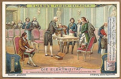 Volta Napoleon Electricity Physics Science c1907 Trade Ad  Card