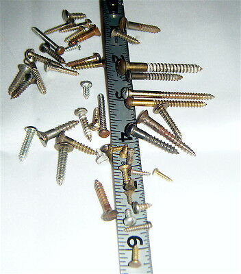 Slot Head SCREWS Lot 44 Vintage Small Slotted Authentic Repair Furniture, Boat