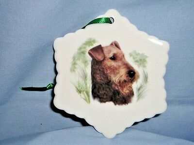 Airdale Terrier Dog Snowflake Porcelain Christmas Tree Ornament-L