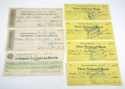 Lot 7 - 1914 1928 First National Bank Lawrenceville Pennsylvania Obsolete Check