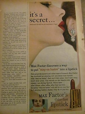 Max Factor, Color Fast Lipstick, Full Page Vintage Print Ad