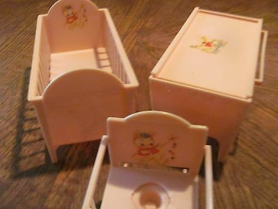 Vintage Doll Furniture - Baby Bed, Bath Changing Table & Rocking Potty Chair