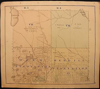 m Original 1877 Roe & Colby Aroostook County Merrill and Moro Plantations Map