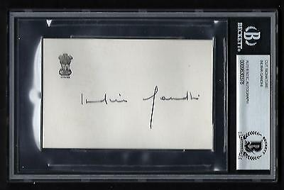 Indira Gandhi signed card BAS Authenticated Former Prime Minister of India