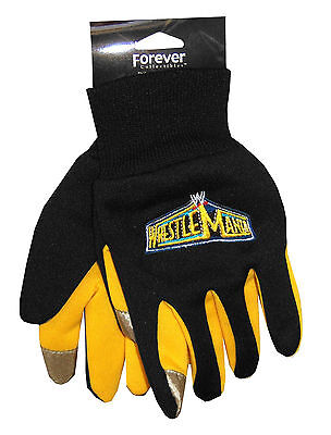 Wwe Wrestling Wrestlemania Black & Yellow Texting Gloves New Official Youth Kids
