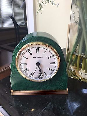 Maitland Smith Hand Painted Faux Malachite Finished Table Top Clock Brass Accent