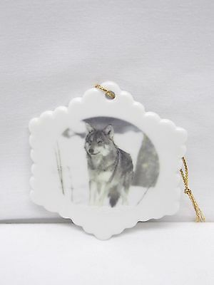 Wolf in the Snow Porcelain Snowflake Christmas Tree Ornament Fired Decal-L