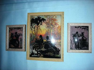 3 Antique Victorian/Colonial Silhouettes, Men Ladies, Wood Framed
