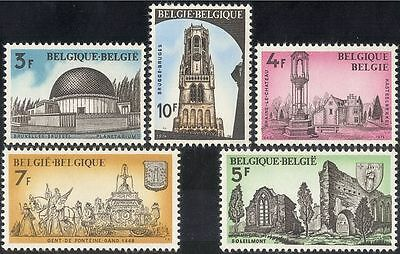 Belgium 1974 Buildings/Astronomy/Belfry/Fountain/Abbey/Heritage 5v set (n43407)