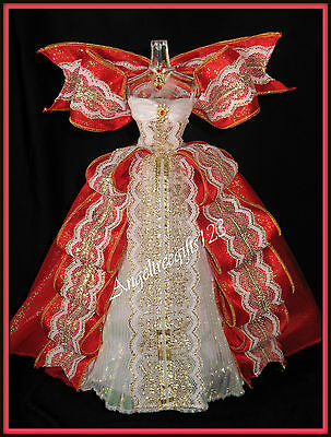 Stunning red & white holiday gown fits model muse silkstone royalty Barbie