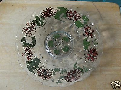 Vintage Red and Green Pedestal Floral Goofus Glass Plate