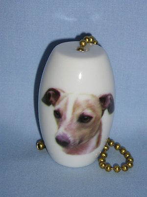 Italian Greyhound Dog Fan & Light Pull Porcelain 2 In long 6 In Chain Decal-H