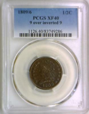1809/6;  9 Over Inverted 9; Half Cent PCGS XF-40