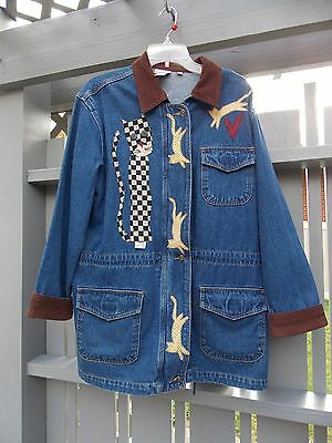 Handcrafted Cat Motif Back & Front Womens Denim Jacket Size M 32 In Long