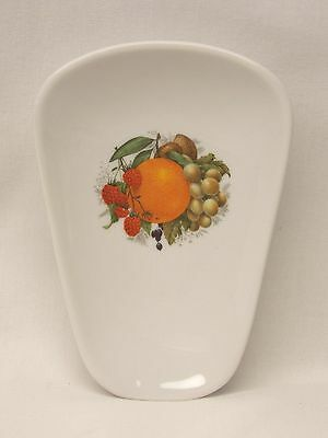 Mixed Fruit Motif Kitchen Spoon Rest Porcelain 5 x 3 Inch Fired Decal Inside