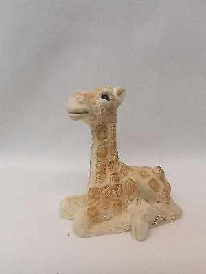 Giraffe Figurine Sitting Made of Stone Material  2 In tall Nice Detail Made USA
