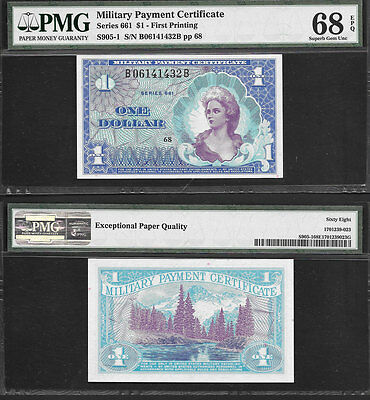 """***perfection*** $1 Series 661 """"military Payment Certificate"""" Pmg Gem/cu 68Epq"""