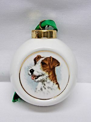 Fox Terrier Dog Christmas Tree Ornament Fired Head Decal-FBH