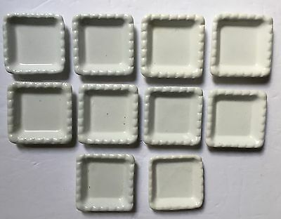 """Antique Powell & Bishop White Ironstone 10 Butter Pats England 2 5/8"""" Across"""