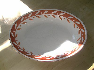 Vtg. hand painted oval serving bowl. Japan.Reddish orange leaves on white.GUC.
