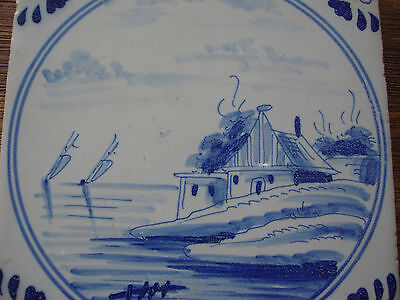 18th Century English or Dutch Delft Tile!  Seascape! Blue and White! NR
