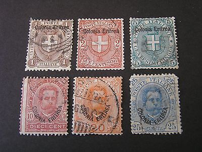 *eritrea, Scott # 12-17(6), 1895-99 Italy Stamps Ovpt Humbert+Arms Issue Used
