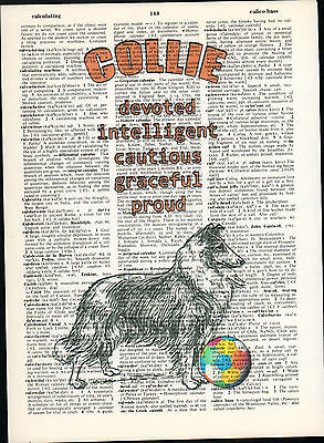 Collie Lassie Dog Traits Altered Art Print Upcycled Vintage Dictionary Page