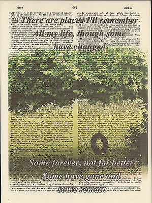 Beatles In My Life Tire Swing Altered Art Print Upcycled Vintage Dictionary Page
