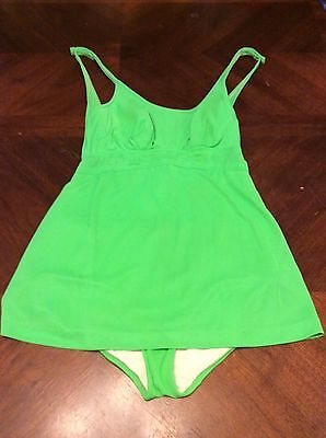 Vintage CATALINA 1950's 60's Lime Green One Piece Swimsuit Pin Up Bombshell 14