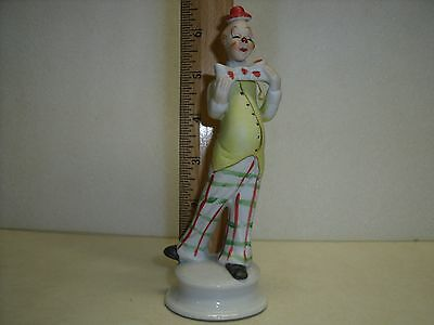 Vintage Porcelain Circus Clown Figurine Yellow vest & Bow Tie has Crown & M mark