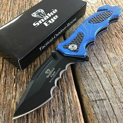 "8"" Tactical Blue SHARK TOOTH Spring Assisted Open Rescue Pocket Knife -m"