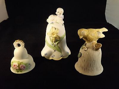 Collectible Bells with Lamb/Bird/Flowers - Set of 3