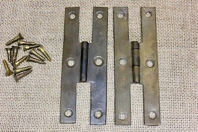 "2 ""H"" Hinges Cabinet door old vintage 1800's antique solid cast BRASS 5 x 1 3/4"""