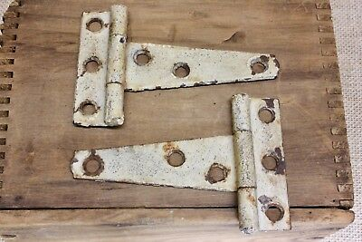 "2 old cabinet door 3 3/4 x 2 1/2"" strap rustic Tee hinges tool box vintage shed"