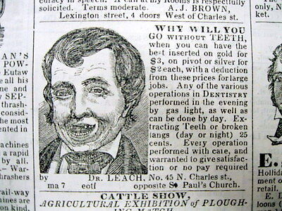 1844 Baltimore MD newspaper ILLUST DENTIST AD showing MAN MISSING hisFRONT TEETH