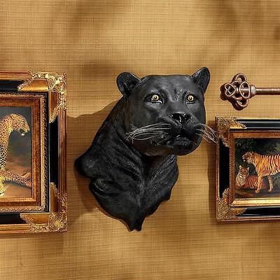 Exotic Black Panther Wall Trophy Sculpture