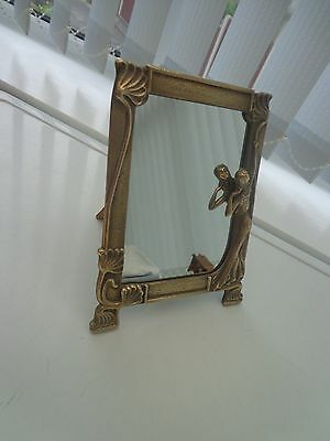 Vintage Art Nouveau Brass Framed Dressing Table Mirror Lady Figure