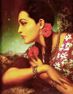 Traditional Mexican Calendar Art Jesus Helguera beautiful girl with flowers