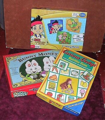 Bunny Money Game Rare Curious George Nutrition Game & Jake the Pirate Match Game