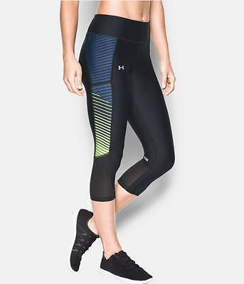 Women's Under Armour Printed Fly-By Running Capris Black/Navy/Yellow Choose Size