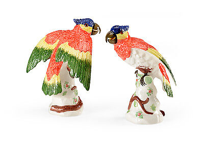 Flying Parrots Pair/Hand Colored/European Ceramic/12.5 x 11 x14.5h/Chelsea House