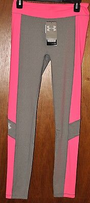 Girls Under Armour Heatgear Pink Gray Leggings  Choose your Size